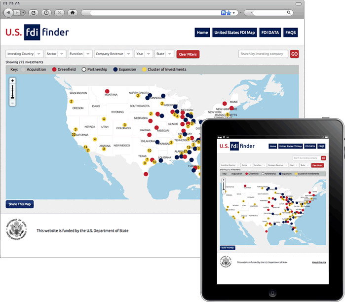 FDI Finder Responsive Web Application Screenshot